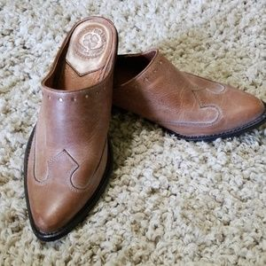 Lucky Brand Leather Cowgirl Mules